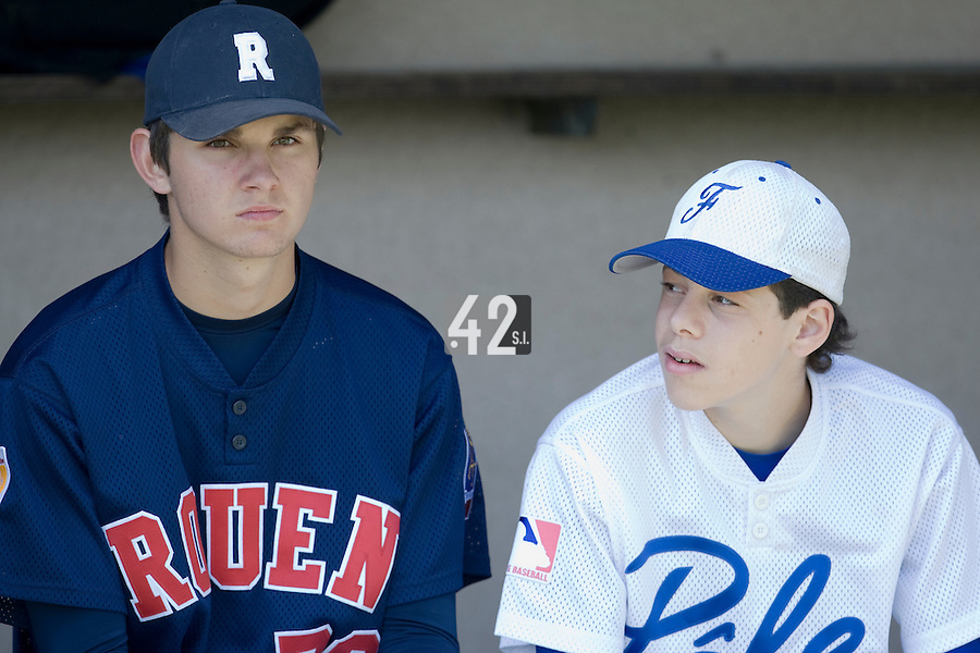 30 April 2008: Quentin Becquey of France and Nelson Azirar of France are seen during the first of seven 2008 MLB European Academy Try-out Sessions throughout Europe, at Stade Kandy Nelson Ball Park, in Toulouse, France. Try-out sessions are run by members of the Major League Baseball Scouting Bureau with assistance from MLBI staff.