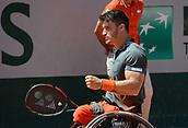 June 10th 2017, Roland Garros, Paris, France; Mens singles wheelchair final, Hewett (gbr) versus Fernandez (arg);  Gustavo Fernandez (Arge) The 19-year-old Hewett (GBR) won 0-6 7-6 (11-9) 6-2 against Argentina's Gustavo Fernandez to claim his first Grand Slam title.