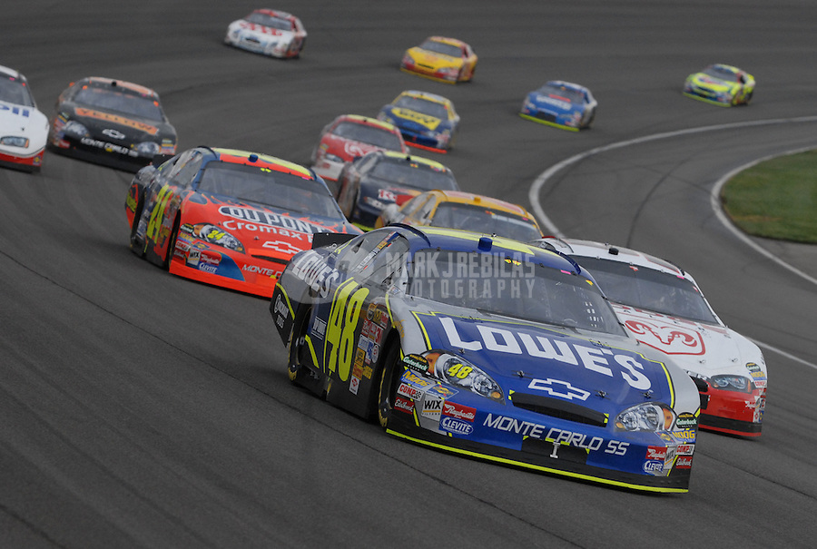 Feb 25, 2007; Fontana, CA, USA; Nascar Nextel Cup Series driver Jimmie Johnson (48) leads teammate Jeff Gordon (24) and Kasey Kahne (9) during the Auto Club 500 at California Speedway. Mandatory Credit: Mark J. Rebilas