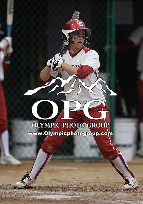 28 May 2010:  Oklahoma's Dani Dobbs sets up in the batters box against Washington.  Washington defeated Oklahoma 3-0 in the second game of the NCAA Super Regional at Husky Softball Stadium in Seattle, WA.