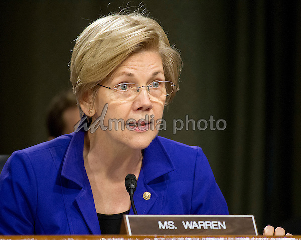 United States Senator Elizabeth Warren (Democrat of Massachusetts) questions Janet L. Yellen, Chair, Board of Governors of the Federal Reserve System, as she testifies before the US Senate Committee on Banking, Housing, & Urban Affairs on ìThe Semiannual Monetary Policy Report to the Congress on Capitol Hill in Washington, DC on Tuesday, February 14, 2017. Photo Credit: Ron Sachs/CNP/AdMedia