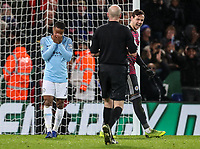 Manchester City 's Raheem Sterling despairs after missing a penalty as Leicester City 's goalkeeper  Danny Ward looks on<br /> <br /> Photographer Andrew Kearns/CameraSport<br /> <br /> English League Cup - Carabao Cup Quarter Final - Leicester City v Manchester City - Tuesday 18th December 2018 - King Power Stadium - Leicester<br />  <br /> World Copyright &copy; 2018 CameraSport. All rights reserved. 43 Linden Ave. Countesthorpe. Leicester. England. LE8 5PG - Tel: +44 (0) 116 277 4147 - admin@camerasport.com - www.camerasport.com