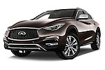 Stock pictures of low aggressive front three quarter view of 2017 Infiniti QX0 Premium-Tech-4wd 5 Door Suv Low Aggressive