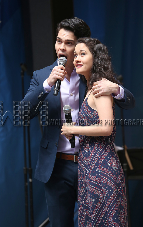 'Phantom of the Opera' cast  on stage at United Airlines Presents #StarsInTheAlley free outdoor concert in Shubert Alley on 6/2/2017 in New York City.