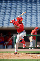 Philadelphia Phillies Luis Garcia (5) at bat during an Instructional League game against the Toronto Blue Jays on September 23, 2019 at Spectrum Field in Clearwater, Florida.  (Mike Janes/Four Seam Images)