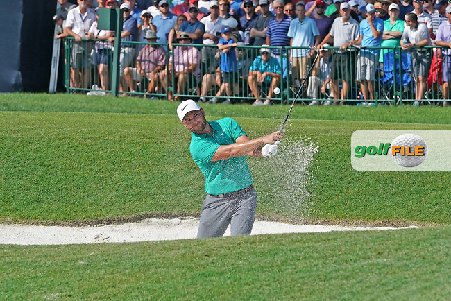 Jordan Smith (ENG) hits out of a sand trap on the 18th hole during the second round of the 100th PGA Championship at Bellerive Country Club, St. Louis, Missouri, USA. 8/11/2018.<br /> Picture: Golffile.ie | Brian Spurlock<br /> <br /> All photo usage must carry mandatory copyright credit (© Golffile | Brian Spurlock)
