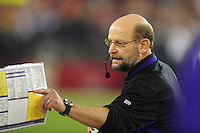 Dec 6, 2009; Glendale, AZ, USA; Minnesota Vikings head coach Brad Childress against the Arizona Cardinals at University of Phoenix Stadium. The Cardinals defeated the Vikings 30-17. Mandatory Credit: Mark J. Rebilas-