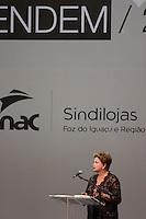 FOZ DO IGUAÇU, PR, 17.03.2014 - POLITICA / ENCONTRO ESTADUAL  - A presidente Dilma Rousseff participou na noite desta segunda-feira(17) em foz do Iguaçu, do encontro das Câmeras da Mulher Empreendedora e Gestora de Negócios, promovido pela Fecomércio (Federação do Comércio de Bens, Serviços e Turismo do Paraná. O encontro aconteceu no Rafain Palace Hotel & Convention Center.(Foto: Paulo Lisboa / Brazil Photo Press)
