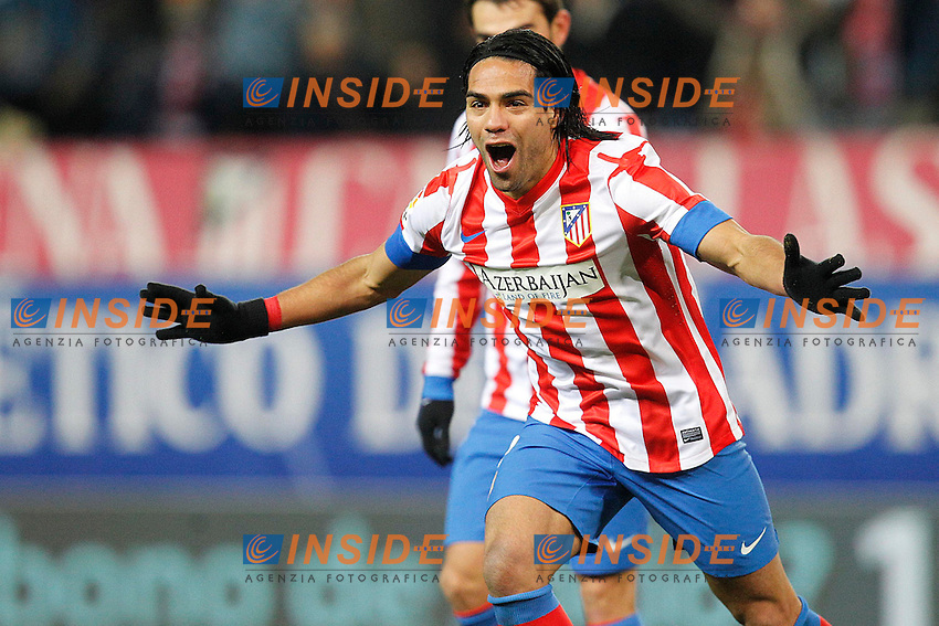 Atletico de Madrid's Radamel Falcao goal during la Liga match on december 9th 2012...Photo: Cesar Cebolla / ALFAQUI .Football Calcio 2012/2013.La Liga Spagna.Foto Alterphotos / Insidefoto .ITALY ONLY