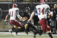 NWA Democrat-Gazette/CHARLIE KAIJO Bentonville Ben Pankau (10) carries the ball for a score, Friday, November 1, 2019 during a football game at Bentonville High School in Bentonville.