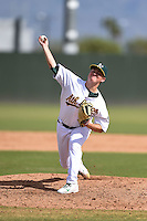 Oakland Athletics pitcher Branden Kelliher (61) during an Instructional League game against the San Francisco Giants on October 15, 2014 at Papago Park Baseball Complex in Phoenix, Arizona.  (Mike Janes/Four Seam Images)