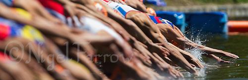 02 JUN 2013 - MADRID, ESP - Competitors dives into the water at the start of the swim at the men's ITU 2013 World Triathlon Series round in Casa de Campo, Madrid, Spain (PHOTO (C) 2013 NIGEL FARROW)