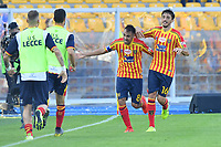 Marco Mancosu of US Lecce celebrates with team mates after scoring the goal of 1-1<br /> Lecce 26-10-2019 Stadio Via del Mare <br /> Football Serie A 2019/2020 <br /> US Lecce - FC Juventus<br /> Photo Carmelo Imbesi / Insidefoto