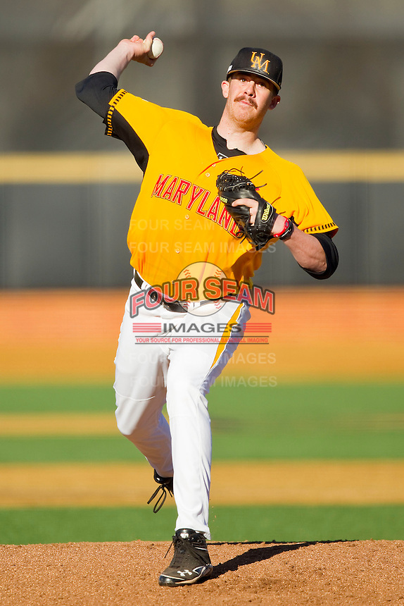 Maryland Terrapins starting pitcher David Carroll #42 in action against the Wake Forest Demon Deacons at Wake Forest Baseball Park on March 10, 2012 in Winston-Salem, North Carolina.  (Brian Westerholt/Sports On Film)