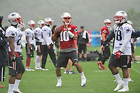 Wednesday, July 27, 2016: New England Patriots quarterback Jimmy Garoppolo (10) throws a pass at a joint training camp practice between New England Patriots and  the New Orleans Saints  training camp held Gillette Stadium in Foxborough Massachusetts. Eric Canha/CSM