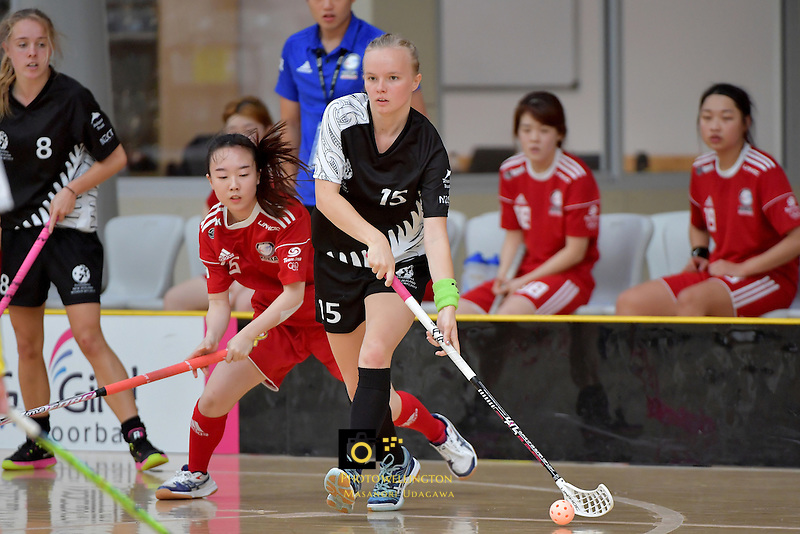 New Zealand's Marie Sundin in action during the World Floorball Championships 2017 Qualification for Asia Oceania Region - New Zealand v Korea at ASB Sports Centre , Wellington, New Zealand on Sunday 5 February 2017.<br /> Photo by Masanori Udagawa<br /> www.photowellington.photoshelter.com.