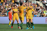 26 November 2017, Melbourne - CHLOE LOGARZO (6) of Australia celebrates her first international goal during an international friendly match between the Australian Matildas and China PR at GMHBA Stadium in Geelong, Australia.. Australia won 5-1. Photo Sydney Low