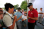Martin Kaymer (GER) signs autographs after finishing the Pro-Am Day of the BMW International Open at Golf Club Munchen Eichenried, Germany, 22nd June 2011 (Photo Eoin Clarke/www.golffile.ie)