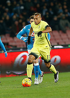 Jonathan Biabiany  controls the ball during the Quartef-final of Tim Cup soccer match,between SSC Napoli and vFC Inter    at  the San  Paolo   stadium in Naples  Italy , January 19, 2016