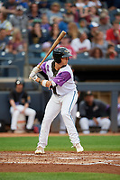 """Akron RubberDucks Alex Call (7) at bat during an Eastern League game against the Erie SeaWolves on August 30, 2019 at Canal Park in Akron, Ohio.  Akron wore special jerseys with the slogan """"Fight Like a Kid"""" during the game for Akron Children's Hospital Home Run for Life event, the design was created by 11 year old Macy Carmichael.  Erie defeated Akron 3-2.  (Mike Janes/Four Seam Images)"""