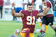 Landover, MD - August 24a, 2018: Washington Redskins linebacker Ryan Kerrigan (91) warms up before preseason game between the Denver Broncos and Washington Redskins at FedEx Field in Landover, MD. The Broncos defeat the Redskins 29-17. (Photo by Phillip Peters/Media Images International)