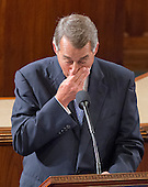 The Speaker of the United States House of Representatives John Boehner (Republican of Ohio) wipes his nose as he speaks to his colleagues from the well of the US House to announce his resignation in the US House Chamber in the US Capitol in Washington, DC on October 29, 2015.<br /> Credit: Ron Sachs / CNP