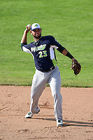 Vermont Lake Monsters second baseman Gabriel Santana (23) throws to first during a game against the Jamestown Jammers on July 13, 2014 at Russell Diethrick Park in Jamestown, New York.  Jamestown defeated Vermont 6-2.  (Mike Janes/Four Seam Images)