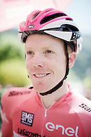 maglia rosa Steven Kruijswijk (NLD/LottoNL-Jumbo) waiting for the start<br /> <br /> stage 17: Molveno-Cassano d'Adda 196km<br /> 99th Giro d'Italia 2016