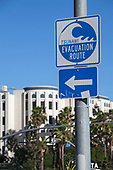 Tsunami Evacuation Route sign, Playa Vista, Los Angeles, California, USA