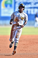 West Virginia Power third baseman Ke'Bryan Hayes (22) runs to third during a game against the  Asheville Tourists at McCormick Field on June 25, 2016 in Asheville, North Carolina. The Tourists defeated the Power 8-4. (Tony Farlow/Four Seam Images)