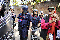 Roma, 3 Giugno 2011.Manifestazione dei lavoratori della Fincantieri arrivati da Genova, Napoli, Palermo, Ancona e Marghera contro il piano di ristrutturaziuone dell'azienda.
