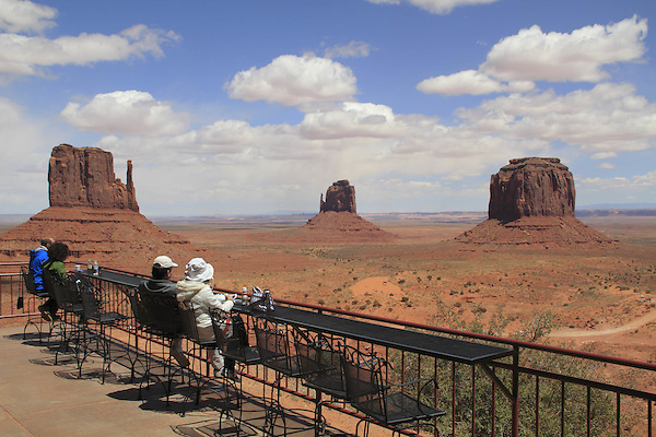 Visitors at Navajo's the View Hotel and restaurant in Monument Valley, Arizona, USA. . John offers private photo tours in Monument Valley and throughout Arizona, Utah and Colorado. Year-round.