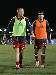 31 March 2007: New York's Clint Mathis (5) and Claudio Reyna (10).  Major League Soccer's Houston Dynamo defeated the New York Red Bulls 2-1 in a preseason game at Blackbaud Stadium on Daniel Island in Charleston, SC, as part of the Carolina Challenge Cup.