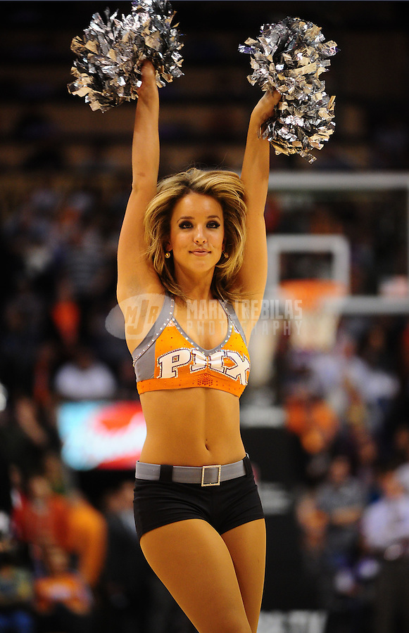 Jan. 14, 2011; Phoenix, AZ, USA; Phoenix Suns dancer performs against the Portland Trailblazers at the US Airways Center. The Suns defeated the Trailblazers 115-111. Mandatory Credit: Mark J. Rebilas-
