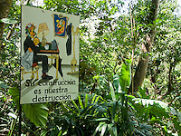 "Sign at Zoo Ave, a zoo near San Jose, Costa Rica, specializing in native birds, promotes rainforest conservation with the slogan ""Your construction is our destruction."""