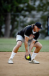 POWAY, CA - JULY 16:  Quarterback Philip Rivers of the San Diego Chargers fields a ball at shortstop for his team the &quot;Valley Farm League&quot;  during their semi-final game in the Regular Joe League at the Poway Sportsplex Softball Field on July 16, 2014 in Poway, California. (CREDIT: Donald Miralle for the Wall Street Journal) <br /> chargers