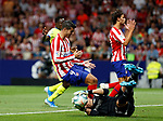 Atletico de Madrid's Alvaro Morata and Getafe CF's David Soria during La Liga match. Aug 18, 2019. (ALTERPHOTOS/Manu R.B.)Atletico de Madrid's Alvaro Morata and Getafe CF's David Soria competes for the ball during the Spanish La Liga match between Atletico de Madrid and Getafe CF at Wanda Metropolitano Stadium in Madrid, Spain