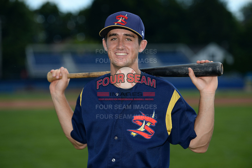State College Spikes second baseman Danny Diekroeger (19) poses for a photo before a game against the Batavia Muckdogs on June 22, 2014 at Dwyer Stadium in Batavia, New York.  State College defeated Batavia 10-3.  (Mike Janes/Four Seam Images)