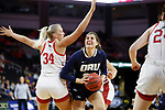 SIOUX FALLS, SD - MARCH 8: Montserrat Brotons #24 of Oral Roberts drives past South Dakota defender Hannah Sjerven #34 at the 2020 Summit League Basketball Championship in Sioux Falls, SD. (Photo by Richard Carlson/Inertia)