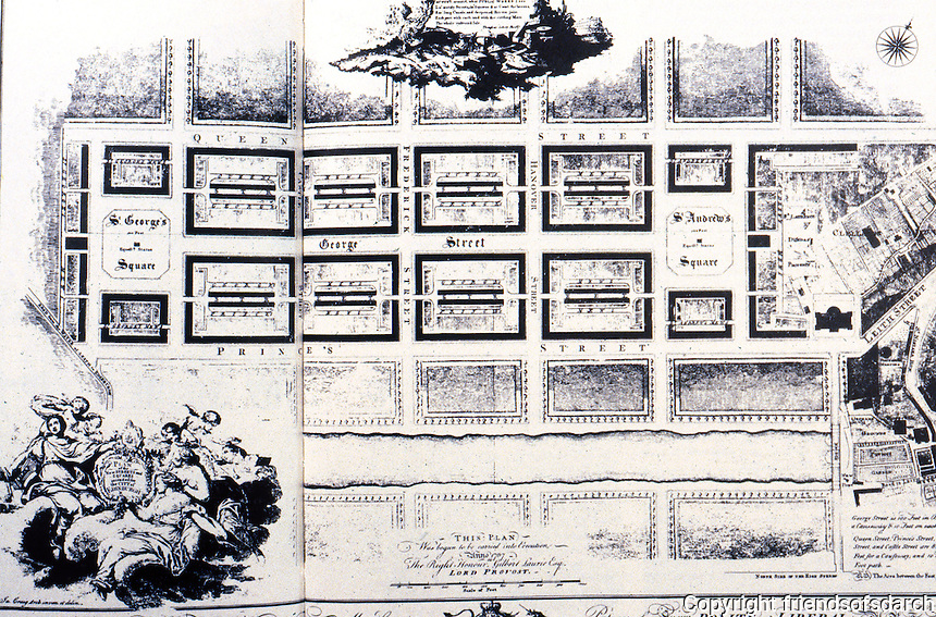 Edinburgh: Plan of New Streets & Squares, 1768. St. George's Square, to left, became Charlotte Square.