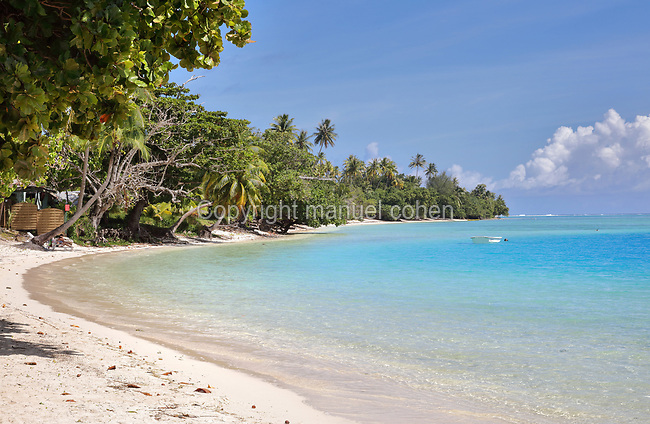 Beach of the Mahana guesthouse, on Huahine-Iti on the island of Huahine, in the Leeward Islands, part of the Society Islands, in French Polynesia. Picture by Manuel Cohen