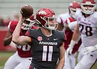 Hawgs Illustrated/BEN GOFF <br /> Daulton Hyatt, Arkansas quarterback, throws the ball in the fourth quarter Saturday, April 6, 2019, during the Arkansas Red-White game at Reynolds Razorback Stadium.