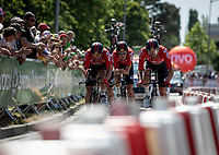 Team Lotto Soudal going in their final KM.<br /> <br /> Stage 3 (Team Time Trial): Cholet > Cholet (35km)<br /> <br /> 105th Tour de France 2018<br /> ©kramon