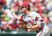NWA Democrat-Gazette/CHARLIE KAIJO Arkansas pitcher Jake Reindl (34) throws the ball during the second game of the NCAA super regional baseball, Sunday, June 10, 2018 at Baum Stadium in Fayetteville. Arkansas fell to South Carolina 5-8.
