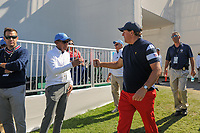 Phil Mickelson (USA) makes his way to the first tee during round 4 Singles of the 2017 President's Cup, Liberty National Golf Club, Jersey City, New Jersey, USA. 10/1/2017. <br /> Picture: Golffile | Ken Murray<br /> <br /> All photo usage must carry mandatory copyright credit (&copy; Golffile | Ken Murray)