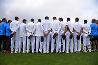 The Bangladesh team poses for a group photo before start of play on day four of the international cricket match between NZ Black Caps and Bangladesh at the Basin Reserve in Wellington, New Zealand on Monday, 11 March 2019. Photo: Dave Lintott / lintottphoto.co.nz