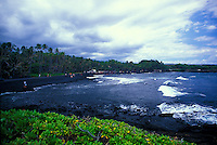 Punaluu Black Sand Beach is a good place to see the unique black volcanic sand but also  resting green sea turtes.