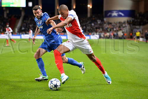 May 3rd 2017, Stade Louis II, Monaco,France; UEFA Champions league football semi-final, AS Monaco versus Juventus;  KYLIAN MBAPPE (mon) beats 15 Andrea Barzagli (juv)