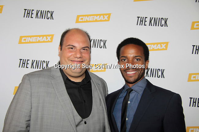 David Fierro and Andre Holland stars in The Knick - on Cinemax - premiering Aug 8, 2014 - starring Andre Holland, Leon Addison Brown, David Fierro and more on July 23, 2014 at NY Academy of Medicine , New York City, New York.  (Photo by Sue Coflin/Max Photos)