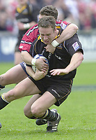 18/05/2002.Sport -Rugby Union- Zurich Championship Quarter final.Gloucester vs Newcastle.Henry Paul hangs on to Newcastle scrum half,  Hall Charlton ..[Mandatory Credit, Peter Spurier/ Intersport Images].